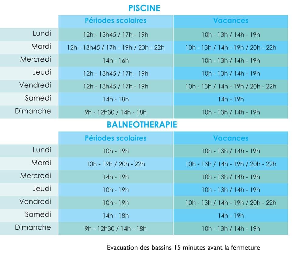Balneothérapie : horaires septembre 2017