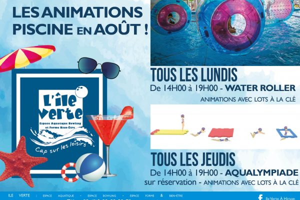 Animations Water Roller et Aqualympiade en août dans les bassins !